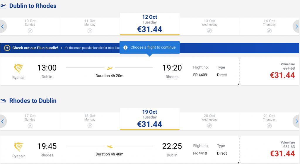 cheap flight to Rhodes