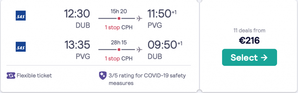 cheap flights from Ireland to China