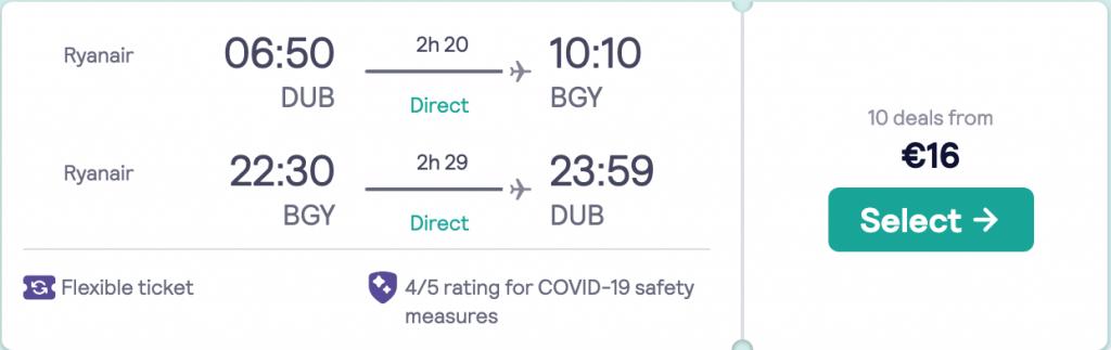 flights from Dublin to Milan