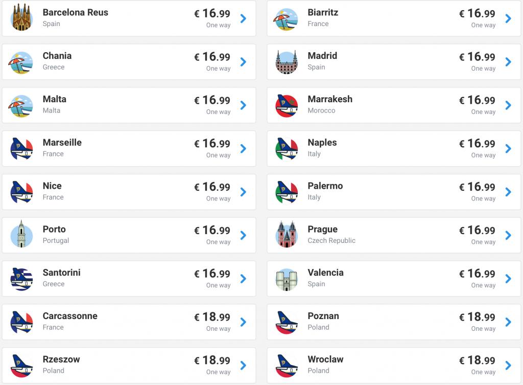 cheap flights from Irish cities