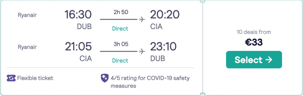 flights from Dublin to Rome