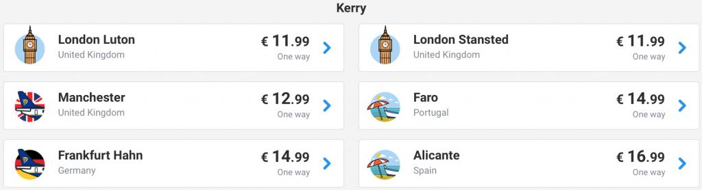cheap flights from Kerry