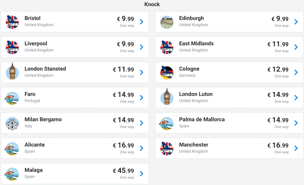 cheap flights from Knock