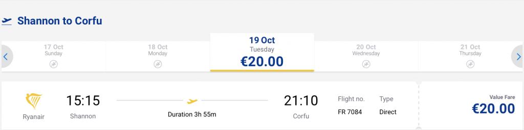flights from Ireland to Greece