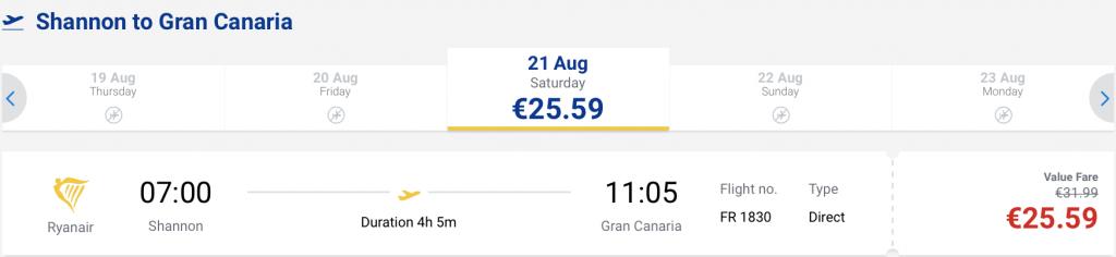 flights from Ireland to Gran Canaria